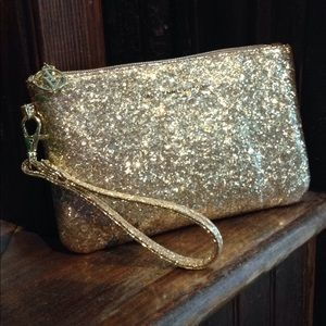 Gold Glitter Wristlet with built-in phone charger